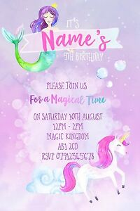 Unicorn Mermaid Magical Party Invitations and Envelopes x 10