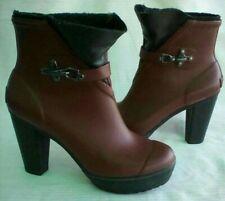 SOREL Medina Burgundy  Rubber High Heel Platform Rain Ankle Boots Size 6.5