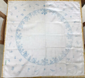 Vintage Irish Linen Printed Tablecloth For Embroidery