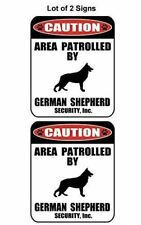 2 Count Caution Area Patrolled by a German Shepherd Laminated Dog Sign