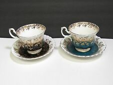 2 Royal Albert Regal Series Bone China Tea Cups Saucers Turquoise Gold Black