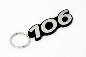 Peugeot 106 Keyring - Brushed Chrome Effect Classic Car Keytag / Keyfob