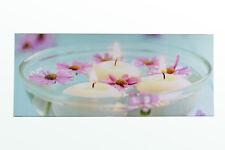 Leinwand Bild Wandbild Leuchtbild Blumen Kerzen in Schüssel Beleuchtetes LED