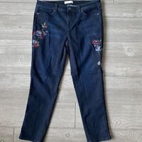 J Jill authentic fit slim ankle embroidery blue Jeans Womens Size 10