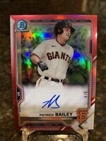 2021 BOWMAN CHROME PATRICK BAILEY RED REFRACTOR AUTO # /5 🔥SF GIANTS 1st Round