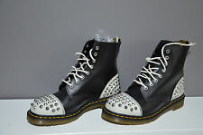 Dr Doc Martens 1460 Dai White Black Cristal Leather Boots size 8 Eu42 RARE