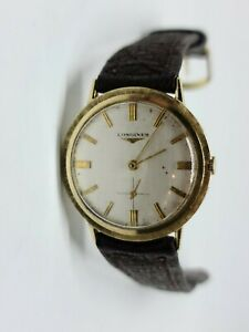 """Vintage 14K Yellow Gold Longines Wrist Watch 34 MM Case Brown Leather 6.75"""" - 8"""""""