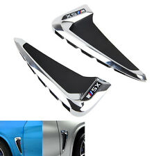 2x Chrome Side Fender Vent Air Outlet Cover M Trim For BMW X5 F15 2014- 2016