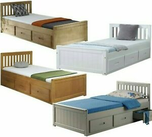 Storage Bed with Drawers White or Wooden Pine or Grey Single or Double Mattress