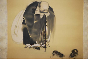 JAPANESE PAINTING Hanging Scroll KAKEJIKU KEIZAN Hotei & Cockfighting Silk w/Box