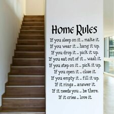 Wall Stickers Love Home Rules Removable Home Decor Sticker Vinyl Inspirational