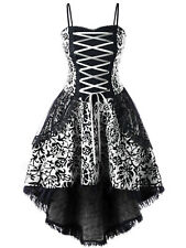 Steampunk Women Lace Up Party Prom Corsets Dip Hem Cami Gothic Dress Plus Size