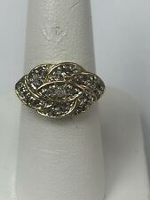 10k Yellow Gold Diamond Cluster Ring Size 6.25