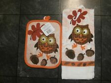 Owl Kitchen Towel with Pot Holder - Owl with Acorns