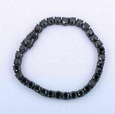 9 Ct Brilliant Round Cut Black Diamond Men Tennis Bracelet 14k Black Gold Over