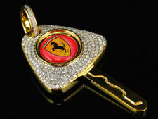 Men's 10k Solid Yellow Gold Over Ferrari Key Pendant Charm 1.90ct Real Diamond