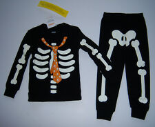 NWT Gymboree Halloween Skeleton Necktie Pajamas Costume 12-18 Glow in the Dark