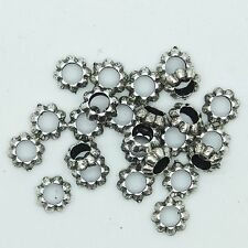 Floral Ring Washer Spacer Bead 7mm Metalized Large Hole Antiqued Silver pk/25