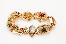 Vintage 1940s 12ct Gem 14k Gold SLIDE Charm Bracelet CAMEO SNAKE COOL