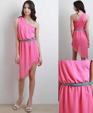 NEW* Grecian goddess drape one shoulder dress PINK womens size Large CUTE SEXY
