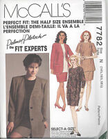 McCall's 7782 Misses' HALFSIZE Unlined Jacket, Dress, Tunic,Skirt Sewing Pattern