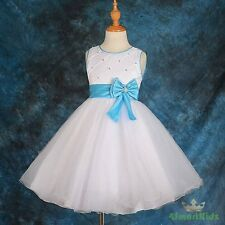 White Blue Rhinestones Tulle Flower Girl Formal Dress Wedding Party Size 5 FG205