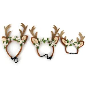 Christmas Pet Dog Reindeer Antlers Flowers Headband Hat Cap Headdress Smart