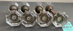 8 Antique Vintage 8pt Point Crystal Glass Victorian Door Knob W/spindle