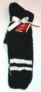 Joe Boxer Women's Black/White Striped Fuzzy Slipper Socks  Size 9/11
