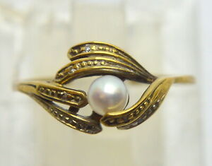 8 kt. 333 YELLOW GOLD WOMEN PEARL GOLD SCRAP OR WEAR RING 8.5 US
