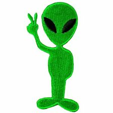 Green Alien Peace Patch ET UFO Embroidered Iron on Patch
