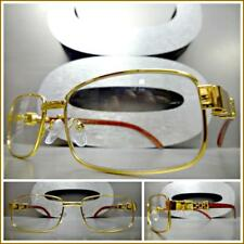 Mens Classy Elegant Exotic Style Clear Lens EYE GLASSES Gold & Wood Wooden Frame