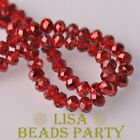 New 300pcs 6X4mm Faceted Rondelle Crystal Glass Loose Spacer Beads Red