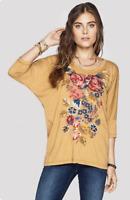 ❤️ JOHNNY WAS Embroidered Cotton JWLA Floral JASPER Dolman 3/4 Sleeve Tee S $158