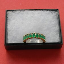 Superb 925 Band Silver Ring With Turkish Emerald 2.8 Gr.Size N In Gift Box