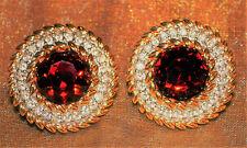70s - 80s Vintage Swarovski America LTD Ruby Colored & Gold Tone Clip Earrings