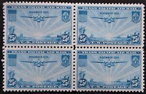 U.S. Mint #C20 25c Airmail Block, Superb Jumbo. NH. Post Office Fresh!  A Gem!
