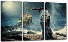 120x80cm Lein-Wand-Bild: Game of Thrones Daenerys Targaryen vor Burg Meer Drache