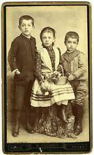 PHOTO CDV VOCORET Paris fratrie Frères & soeur posent circa 1890