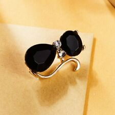 Cute Black Diamond Cat Rhinestone Badge Small Brooch Buckle Jewelry Kid Gift
