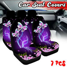 7X Universal Car Seat Covers Full Set Protectors Washable Front Rear Butterfly