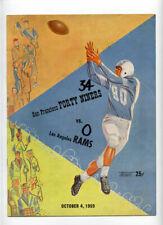 San Francisco 49ers v Los Angeles Rams **VTG** 1959 Program  Tittle Ollie Matson