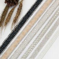 1Yd DIY Sewing Applique Pearls Beaded Lace Trim Ribbon Wedding Dress Decor Craft