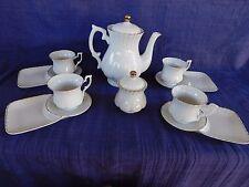 Elegant TEA & DESSERT SET - Teapot, 4 cups, 4 snack plates, Sugar Bowl White & G