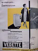 PUBLICITÉ 1959 VEDETTE MACHINE A LAVER ENTIÈREMENT AUTOMATIQUE - ADVERTISING