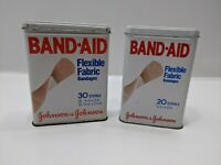 Lot of 2 Vintage Metal Hinged Lid Band-Aid Box Johnson & Johnson Sheer Strips