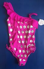 NWT JUSTICE GIRLS Purple Polka Dot ONE PIECE SWIMSUIT Size 14 Swim Wear Suit New