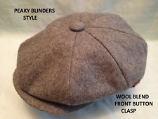 PEAKY BLINDERS GREY 1920'S 30'S CAP PEAKED PEAK RETRO CLASP BUTTON