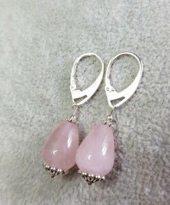 925 Natural Rose Quartz Gemstone Teardrop Leverback Earrings Handmade
