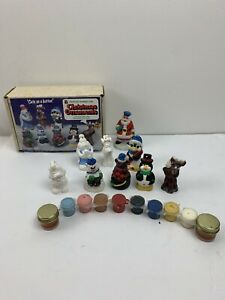 Vintage Wee Crafts Christmas Ornaments 3D Style 8 Ready to Paint Kit - Used